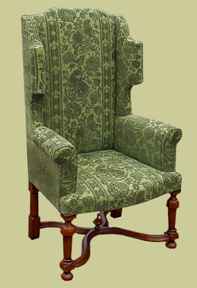 William and Mary period style upholstered wing chair, with