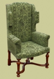 William and Mary period style wing chair