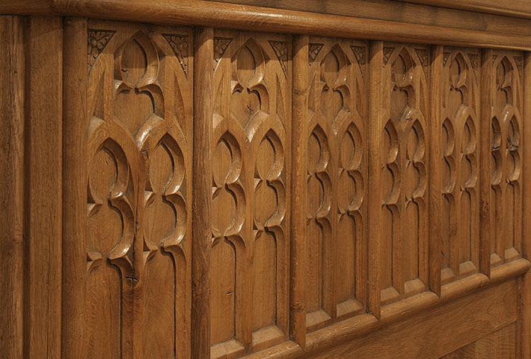 Medieval Style Oak Bed Circa 1500 With Tracery Carving