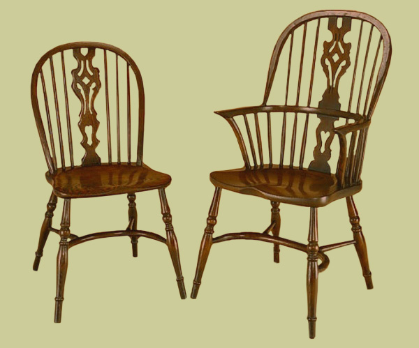 Windsor country style stick back dining chairs.