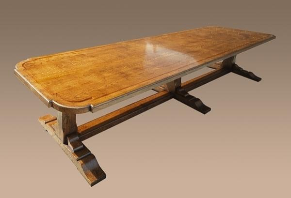 Oak pedestal dining table long
