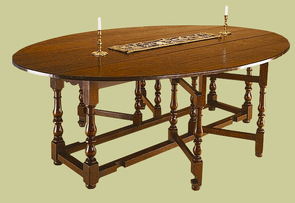 Oak 8-seater gateleg table, medium size, with double gates. Handmade reproduction 17th/18th century style