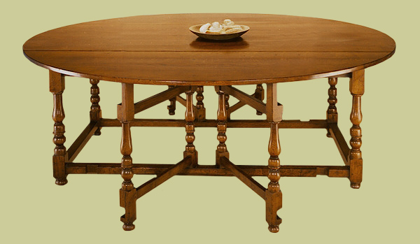 Oak gateleg table, large size, with double gates. Handmade 17th/18th century style makes a comfortable eight seater.