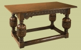 Elizabethan style oak carved refectory dining table