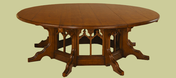 Large octagonal dining table, in a Pugin design with a gothic influence.