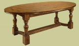 Refectory table with oval burr elm top
