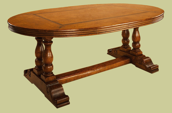 Oak Oval Dining Table On Hand Carved Paired Pedestal Bases - Oval trestle dining table