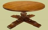 Custom made oak round table on cruciform base