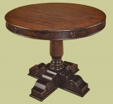 Drum table on single pedestal and cruciform feet
