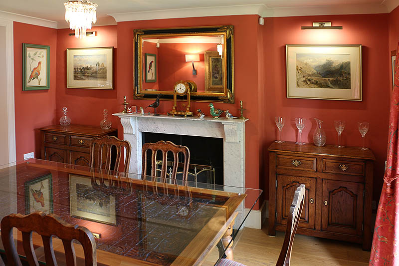 Bespoke oak dresser bases, in dining room of Sussex village house