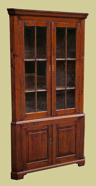 Tall Corner Cupboard Fruitwood Glazed