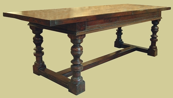 Refectory table with baluster & peg legs