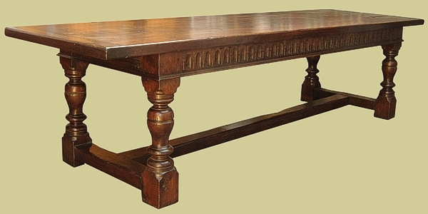 Refectory table solid oak carved
