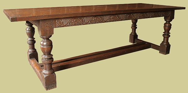 Hand carved refectory dining table