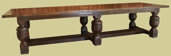 Oak bulbous leg refectory table