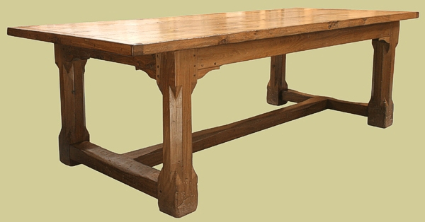 Refectory Table Oak Stop Chamfered Legs