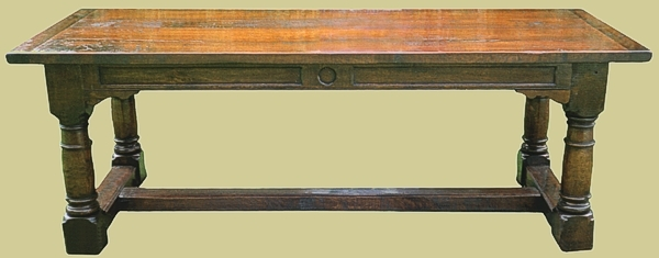 Gunbarrel leg oak refectory table