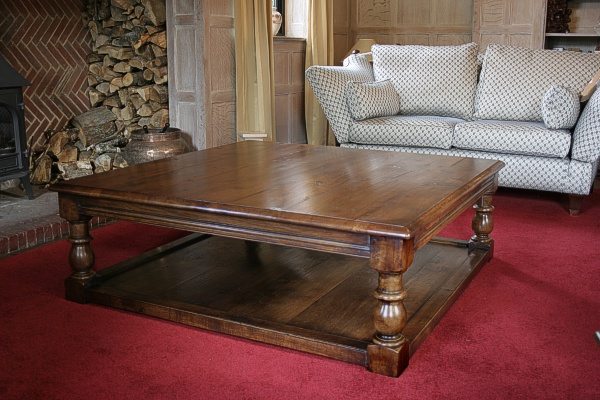 Coffee Table Handmade Large Square Oak Coffee Table With Potboard