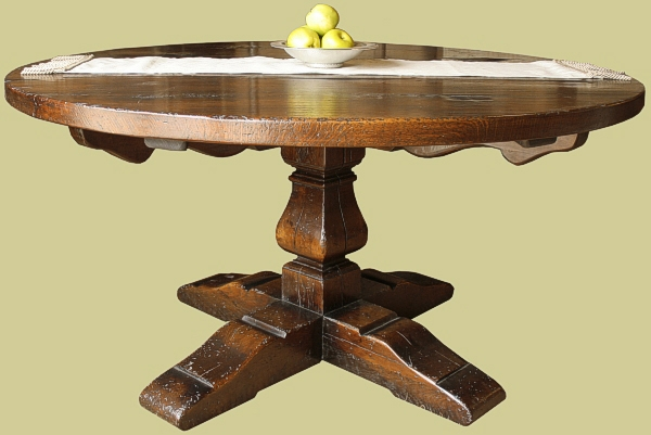 Round Oak Dining Table Baluster Leg