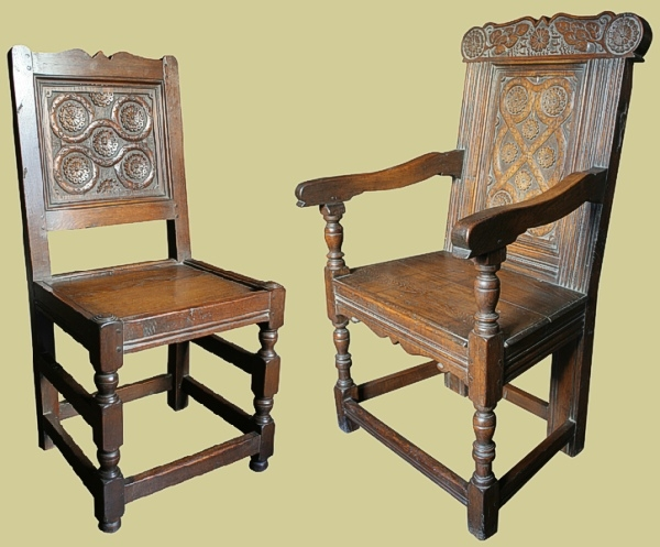 Oak westmorland hand carved chairs