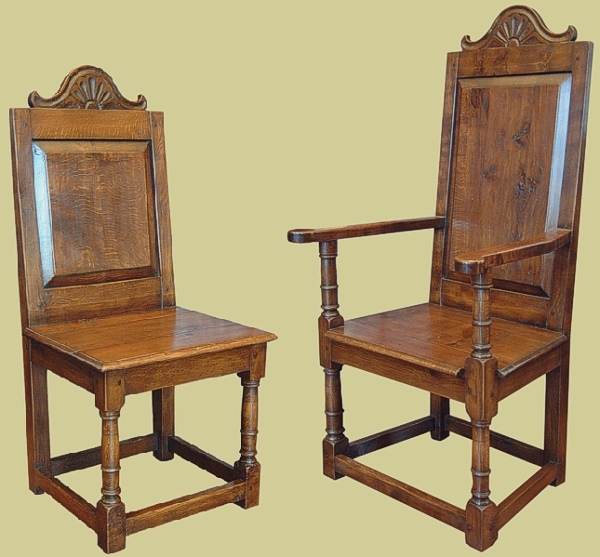 Oak Solid Panel Back Carved Side Chair