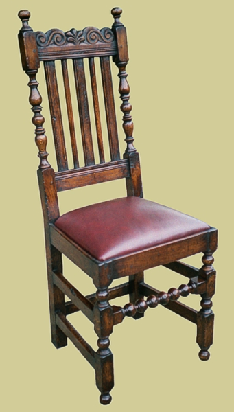 Oak Carved Slat Back Side Chair