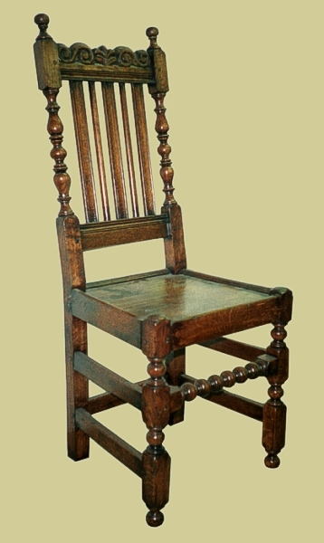 Oak carved slat back panel seat chairs