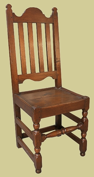 Oak Slat Back Side Chair Plain Rail