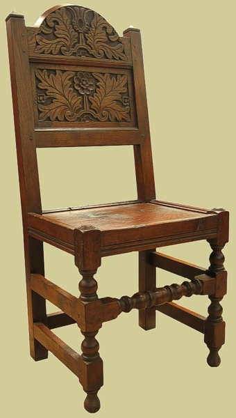 Oak South Lancs Carved Side Chair
