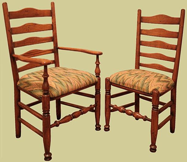 Ash upholstered ladderback side chair