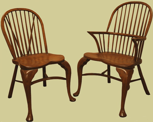 Fruitwood cabriole leg stick back side chair and armchair.