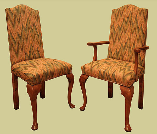 Fruitwood Cab.Leg Upholstered Side Chair
