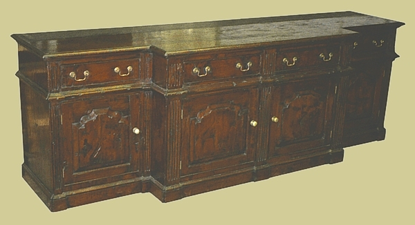 Large Breakfront Dresser Base Oak