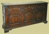 Oak 3 Drawer Closed Dresser Base