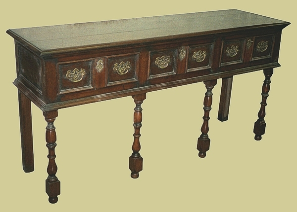 Oak baluster leg open dresser base