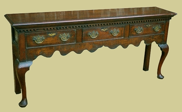 Oak cabriole leg 3 drawer open dresser