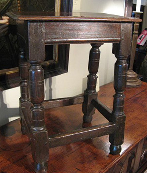 Charles 1 oak joined stool c1640