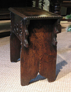 Elm boarded stool c1550