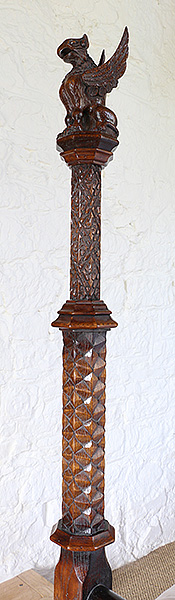 16th century style carved oak foot post for gothic bed