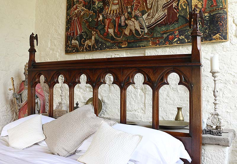 Gothic oak bed open tracery headboard