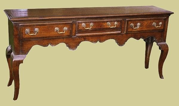 Fruitwood crossbanded open dresser base