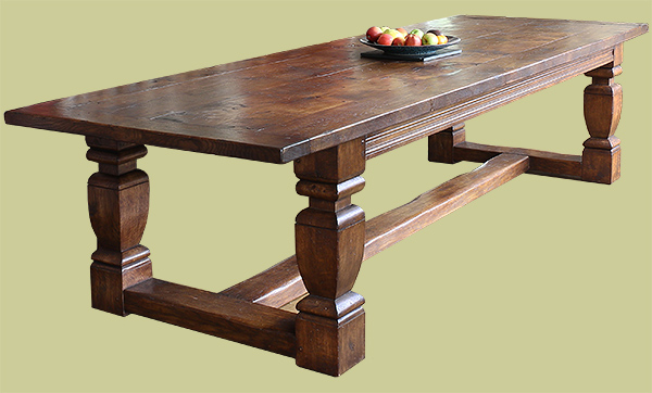 Heavy Arts and Crafts style solid oak refectory table, with square cut baluster legs.