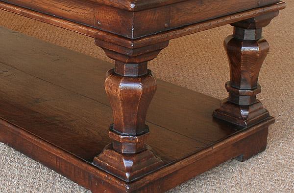 Octagonal leg detail oak coffee table