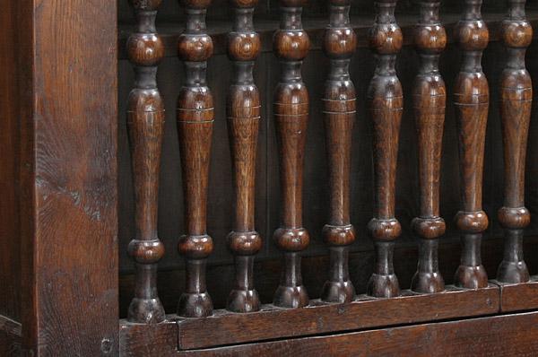 Oak wall cupboard turnings detail