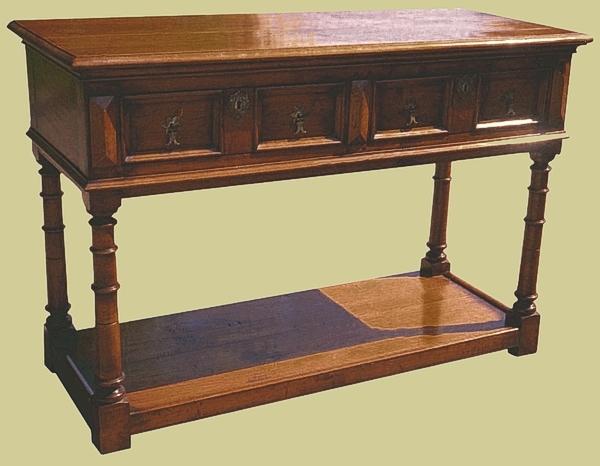 Oak Gunbarrel Leg Potboard Dresser Base