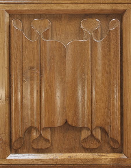 Hand carved oak linenfold bed panel