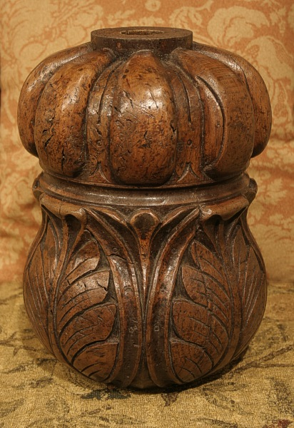 Carved cup and cover oak bed post
