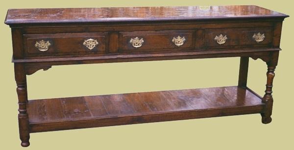 Oak 3 drawer Potboard Dresser Base