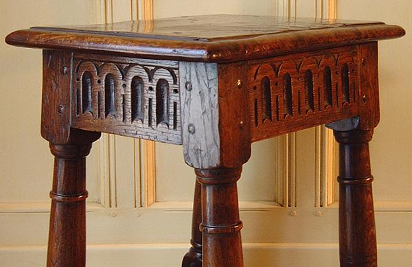 Oak joined stool thumbnail carving
