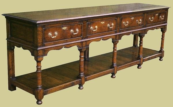 Oak 4 Drawer Potboard Dresser Base
